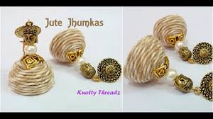 jute earrings earrings trendy jute jhumkas by knotty threadz using