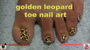 animal print toe nail art design golden leopard hd youtube