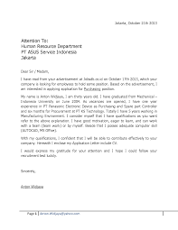 Cover Letter For Human Resources Job Cover Letter For Job Application For Fresh Graduate