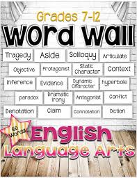free english language arts word wall for grades 7 12 60 words