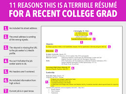 Reason For Leaving On Resume Examples by Terrible Resume For A Recent College Grad Business Insider