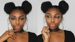 two ear hairstyle natural hair space buns 2 buns with marley hair youtube