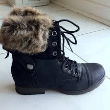justfab s boots 54 shoes justfab combat boots faux fur january from
