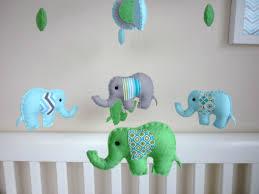 baby boy elephant mobile felt nursery baby mobile baby blue