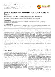 effect of using waste material as filler in bituminous mix design