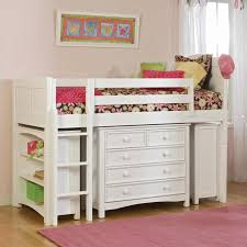 White Wood Loft Bed With Desk by White Wooden Loft Bed With Shelves Also Drawers On The Front Side