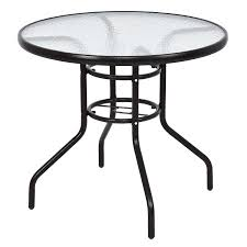 black patio table glass top costway 31 1 2 patio round table steel frame dining table patio