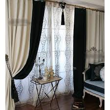 Black Ticking Curtains Charming Ivory And Black Curtains 45 For Your Ombre Shower Curtain