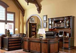 Home Office Double Desk Warm Tuscan Home Office With Double Desks And Leather Chairs And