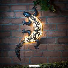 solar powered bright led light gecko metal garden decoration wall