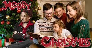 goth teen to ruin family christmas card for the third year in a row
