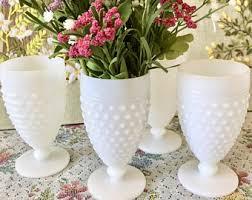 Glass Vase Centerpiece Milk Glass Vases Bernadette Mini Milk Glass Vase Pair Of