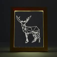 kcasa fl 722 3d photo frame illuminative led night light wooden