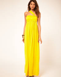 miss sixty maxi dress with asymmetric straps in yellow lyst