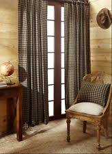 Black Tan Curtains Rustic Primitive Lined Curtains Ebay