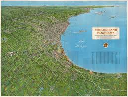 Birds Eye View Map Vintage Bird U0027s Eye View Map Chicagoland Panorama 1964 Hjbmaps