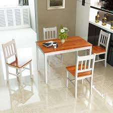pine kitchen furniture costway 5pcs pine wood dinette dining set table and 4 chairs home