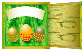 wooden easter eggs that open wooden cracked background with three easter eggs stock vector