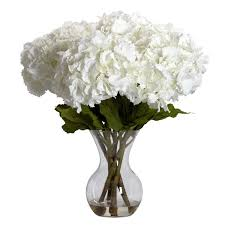 amazon com nearly natural 1260 large hydrangea with vase silk