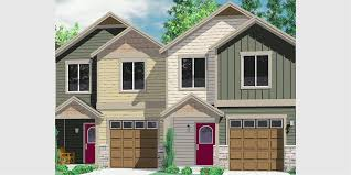 Craftsman 2 Story House Plans House Front Color Elevation View For D 542 Duplex House Plans