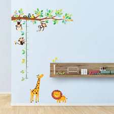amazon com decowall dw 1402 little monkeys tree animals height amazon com decowall dw 1402 little monkeys tree animals height chart peel and stick nursery kids wall decals stickers home kitchen