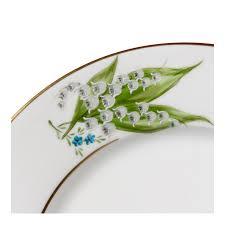 porcelaine peinte main assiette à dessert en porcelaine peinte avec un motif muguet