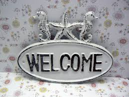 Welcome Home Decor Seahorse Starfish Welcome Cast Iron Door Sign White Shabby Chic