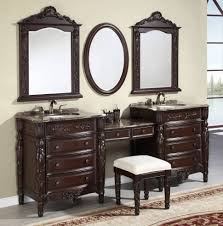 Bathroom Vanity With Makeup Area by Bathroom Design Ideas Traditional Dark Brown Lacquered Wood
