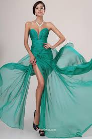 emerald green chiffon sweetheart strapless slit long prom dress