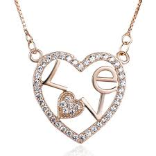 shaped pendant necklace images 925 sterling silver rose gold plated heart shaped pendant jpg