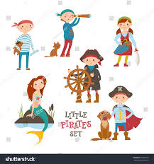 kids halloween background set cute little pirate sailor kids stock vector 637802767