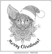 decorative cat santa claus hat stock vector 509271268