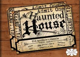 halloween haunted house ticket invitation handmade digital