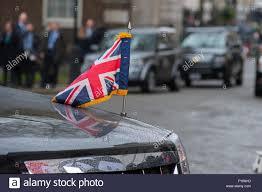 Custom Car Flag Downing Street London Uk 22nd April 2016 Union Flag Pennant On