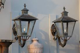 Cast Iron Wall Sconce Pair Of French Copper Glazed And Cast Iron Mounted Wall Lanterns