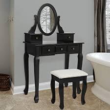 amazon com bathroom vanity table jewelry makeup desk bench drawer