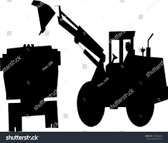 jeep silhouette silhouette excavator loads ground back dump stock vector 148764284