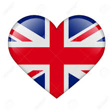 England Flag Colors The British Flag In The Form Of A Glossy Heart Stock Photo