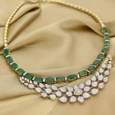 diamond emerald necklace images Manubhai jeweller 39 s diamond emerald necklace diamond jewellery jpg