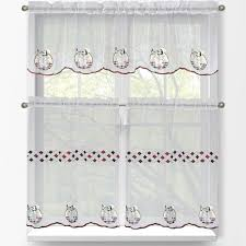 Kitchen Curtains And Valances by Window Elements Sheer Happy Chef Embroidered 3 Piece Kitchen