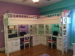Girls Bed With Desk by Custom Made Dual Loft Beds With Desks Kids Room Decor