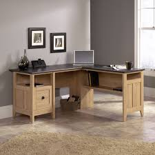 Sauder Harbor View Computer Desk With Hutch Salt Oak by Sauder L Shaped Desk Best Home Furniture Decoration