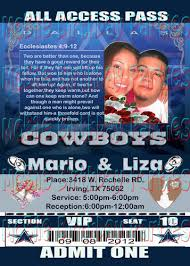 Wedding Invitations Dallas Cowboys Themed Ticket Invitation Mobilebirthdayparties On Artfire
