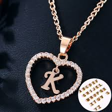 love crystal necklace images 26letters heart love crystal women silver rosegold chain necklace jpg