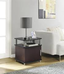 ameriwood furniture carson end table with storage cherry black