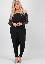 plus jumpsuit layla lace sleeve bardot jumpsuit