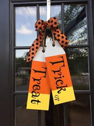 large wood tags door hanger trick or treat hand painted