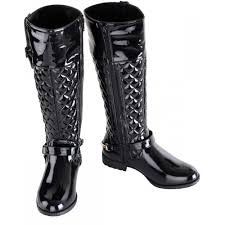 womens quilted boots uk s black quilted patent gold buckle boots