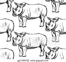 vector art sketch wild rhino vector seamless pattern clipart