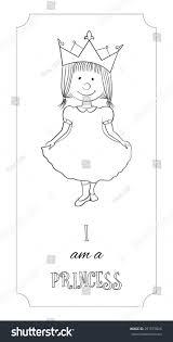 kid cartoon cute princess outline card stock vector 391575826